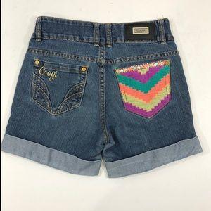 COOGI Denim Shorts Embroidered  Cuffed